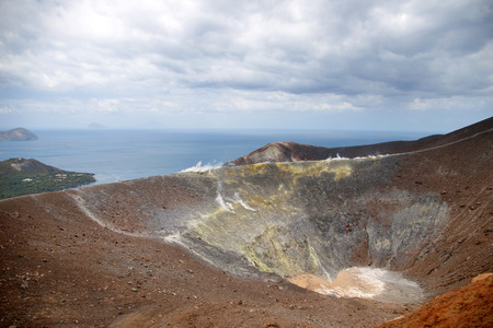 vulcano: Grand crater Vulcano, Lipari Island, Sicily, Italy