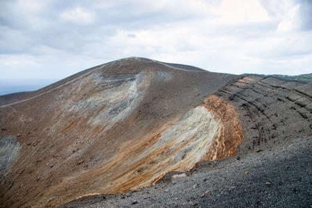 lipari: Grand crater Vulcano, Lipari Island, Sicily, Italy