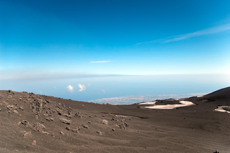effusion: View from mount Etna - the biggest active volcano in Europe, Sicily, Italy Stock Photo