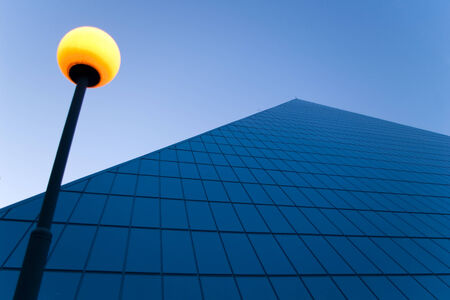Tall building with street lamp