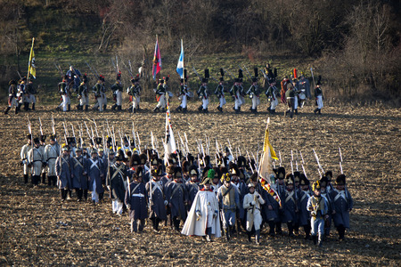 austerlitz: TVAROZNA, CZECH REPUBLIC - NOVEMBER 28: History fans in military costumes reenact the battle of Austerlitz, which Napoleon won in 1805, on November 28, 2009 near the village of Tvarozna, Czech Repuplic.
