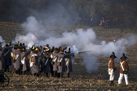 TVAROZNA, CZECH REPUBLIC - NOVEMBER 28: History fans in military costumes reenact the battle of Austerlitz, which Napoleon won in 1805, on November 28, 2009 near the village of Tvarozna, Czech Repuplic.