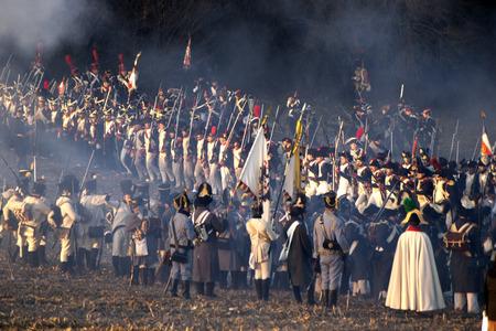 TVAROZNA, CZECH REPUBLIC - NOVEMBER 28: History fans in military costumes reenact the battle of Austerlitz, which Napoleon won in 1805, on November 28, 2009 near the village of Tvarozna, Czech Repuplic.
