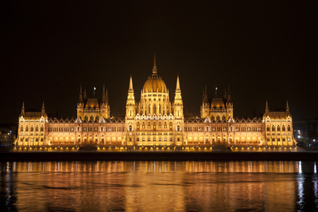 Highly detailed photo of the Parliament in Budapest at night, Hungary photo