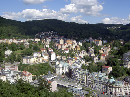 karlovy: Street of Karlovy Vary, view from above, Czech republic