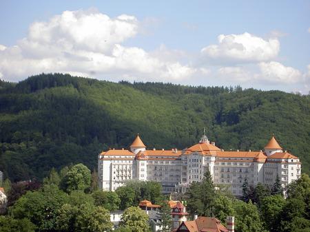 vary: Streets of Karlovy Vary, Czech republic Stock Photo