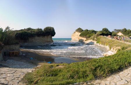Canal DAmour panoramic beach view, Corfu, Greece Stock Photo