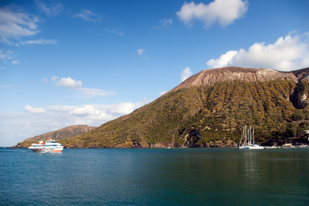 lipari: Luxury cruise ship on the coast of Vulcano island, Lipari, Sicily