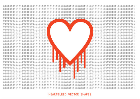 Heartbleed openssl bug vector shape with background text