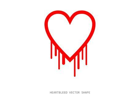 Clean heartbleed openssl bug vector shape, red bleeding heart on white background