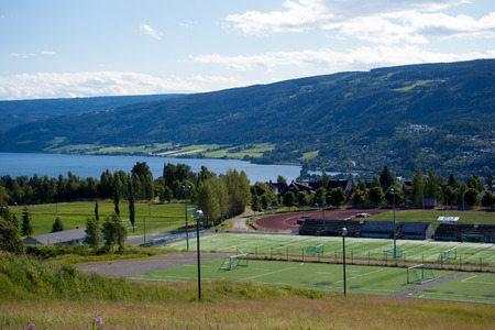 Sport center, playgrounds, soccer fields, tennis courts, Lillehammer, Norway