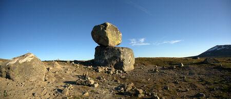 Big boulders on mountain plateau panoramic photo, Valdresflye, Jotunheimen, Norway