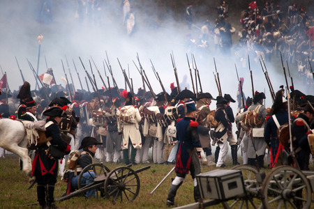 TVAROZNA, CZECH REPUBLIC - NOVEMBER 29, 2014: History fan in military costume reenacts the Battle of Three Emperors on November 29, 2014 in Tvarozna, Czech Republic.