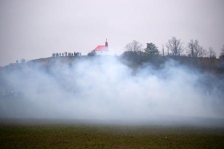 austerlitz: Smoke on the battlefield, Battle of Three Emperors, Austerlitz, Tvarozna, Czech republic Stock Photo