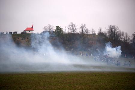 austerlitz: Smoke on the battlefield, Battle of Three Emperors, Austerlitz, Tvarozna, Czech republic Editorial