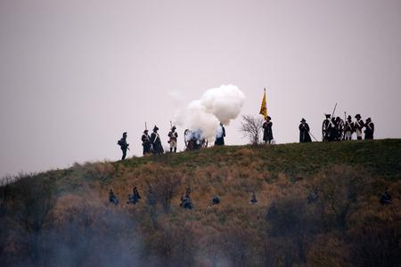 austerlitz: Firing cannon, Battle of Three Emperors, Austerlitz, Tvarozna, Czech republic Editorial
