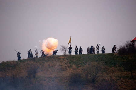 austerlitz: Fire emanating from the barrel of cannon, Battle of Three Emperors, Austerlitz, Tvarozna, Czech republic Editorial