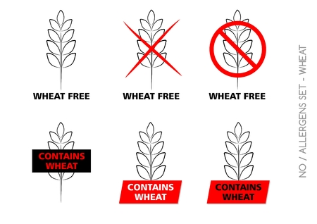 Vector Wheat Free Signs isolated on white background