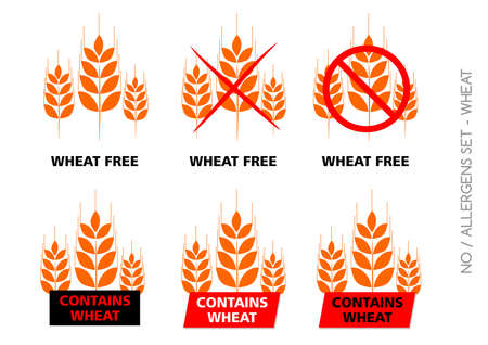 Brown Wheat Free Signs isolated on white background Stock Photo