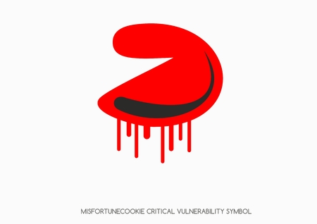 Misfortune cookie critical vulnerability router problem - Vector bleeding cookie symbol