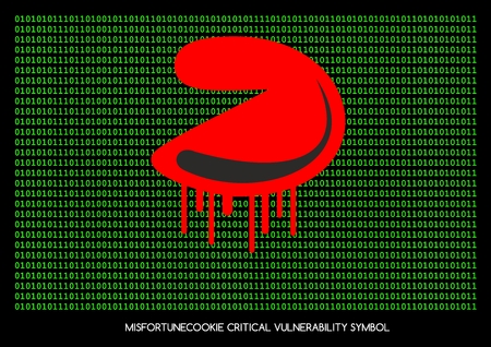 soho: Misfortune cookie critical vulnerability router problem - bleeding cookie symbol Stock Photo