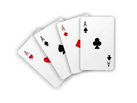Playing cards. Four aces on white background with soft shadow Stock Photo