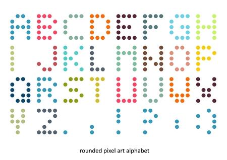 Rounded pixel art alphabet font in pastel colors
