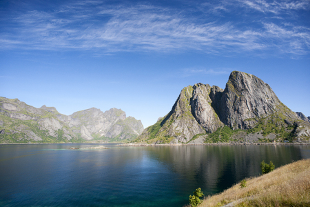 Summer view of Lofoten Islands near Moskenes, Norway Stock Photo