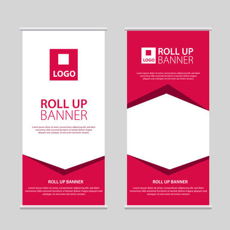 Roll Up Banner Vector, abstract geometric background, modern x-banner