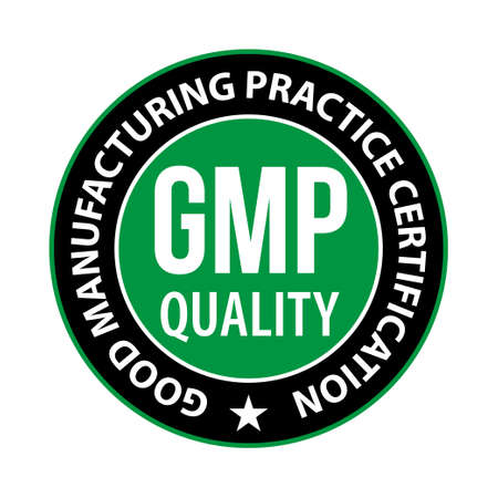 GMP Good Manufacturing Practice certified round green stamp Vector Vector Illustration