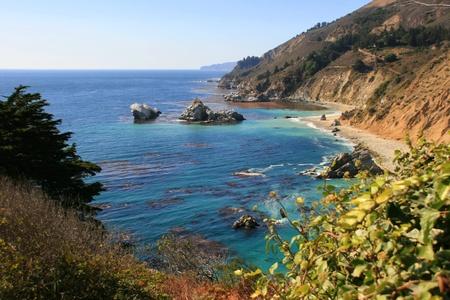 Pacific kustlijn op Saddle Rock Ranch. Monterey County, Californië Stockfoto