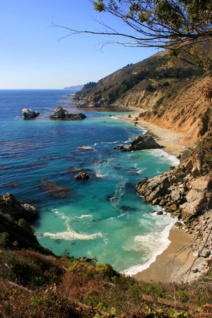 undeveloped: Pacific coastline at Saddle Rock Ranch. Monterey County, California Stock Photo