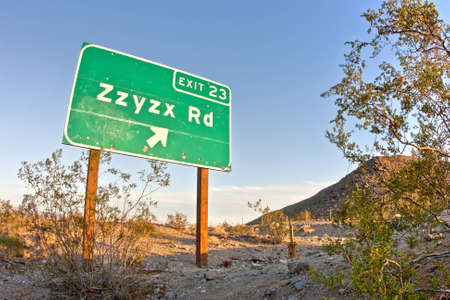 interstate: Zzyzx Road freeway sign along the Interstate 15 freeway near Baker, California