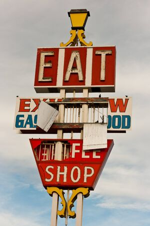 barstow: Abandoned neon restaurant sign along I-15 in Barstow Stock Photo