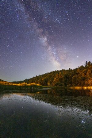 Milky Way Over Doane Pond In Palomar Mountain State Park Stockfoto