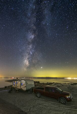 Camping in an RV under the Milky Way at the Salton Sea