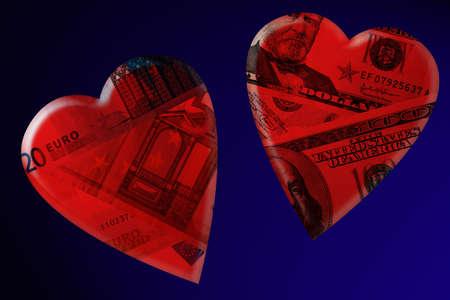 Money in hearts. Dollars, euro