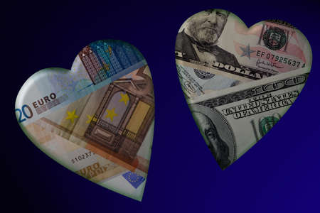 Money in hearts. Dollars, euro