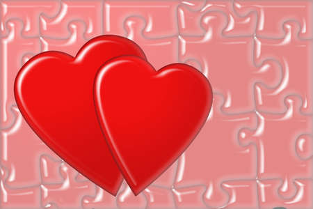 Red heart and puzzle