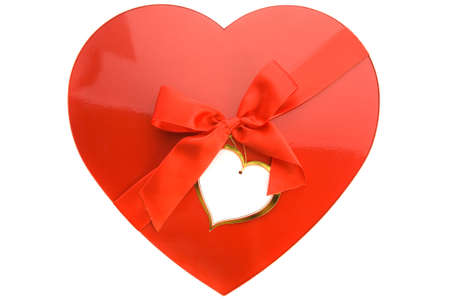 Red box as heart with ribbon on white background Stock Photo