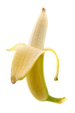 Fresh half peeled banana, isolated on white, included