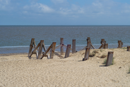 Old wooden pier posts sticking out of a sandy beach
