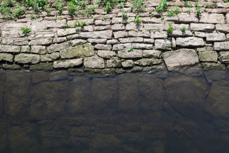 Patterned rocks underneath the water holding back the low river Banco de Imagens