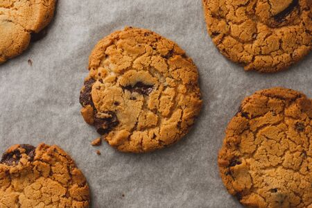 Freshly baked chocolate chip cookies on baking parchment viewed from the top down Banco de Imagens