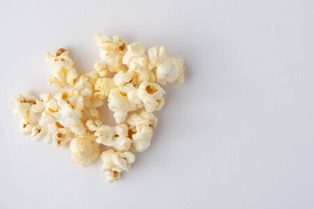 Popcorn on a white background viewed from the top