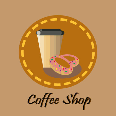 Brown coffee and donuts Vector