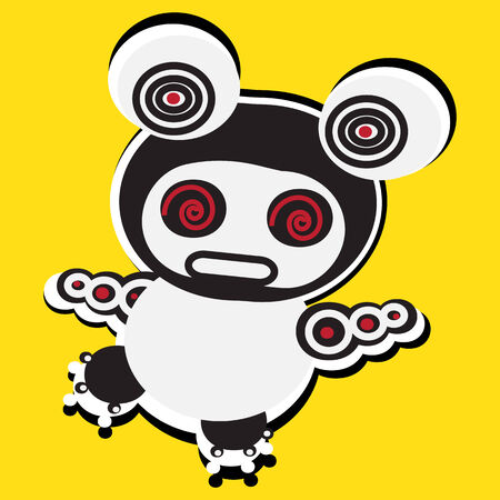 Funny yellow electronic bear Vector