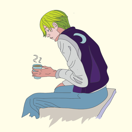 Cute man with a cup of hot delicious drink Illustration