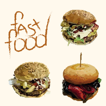 Appetizing fast food hamburgers in pixels