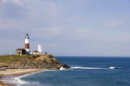 モントーク ポイント灯台、大西洋を見下ろします。 写真素材